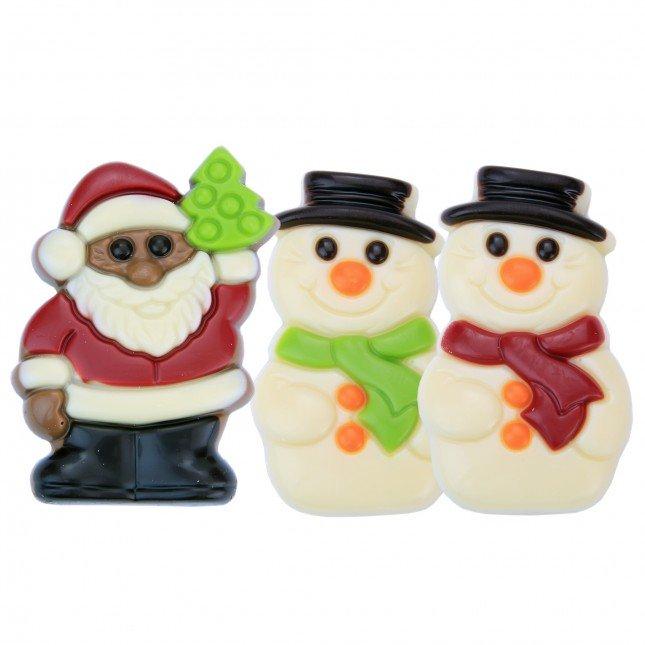 Weihnachts- und Schneemänner aus Schokolade